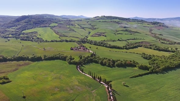 Tuscany Aerial Landscape with Road and Cypresses