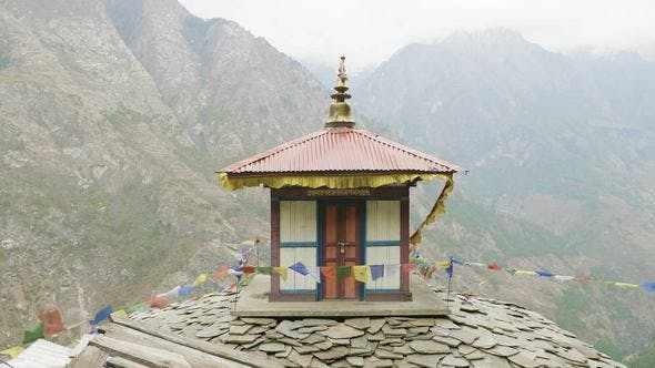 Thumbnail for High-altitude Monastery in Nepal, Village Prok, Manaslu Circuit Trek.