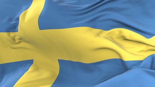 Sweden Flag Waving at Wind
