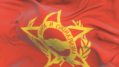 Flag of Warsaw Pact Waving