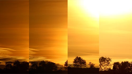 Sunset Beyond Hill Close Up (Pack of 4)