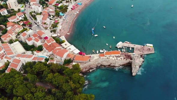 Thumbnail for Aerial View of Old Town on Adriatic Coast, Montenegro, Petrovac