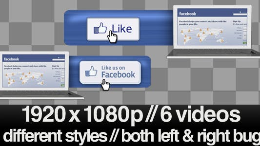 Thumbnail for Facebook Like Us Lower 3rd Bug - 3 Styles With Alpha