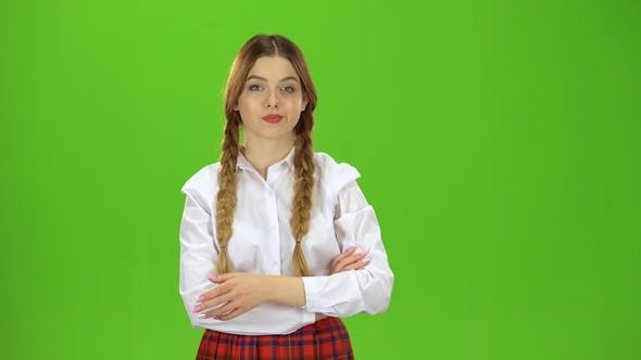 Thumbnail for Girl Student with Two Pigtails Tired Green Screen