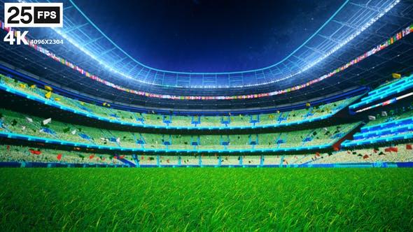 Thumbnail for Green Flying On Grass In Stadium Night 4K
