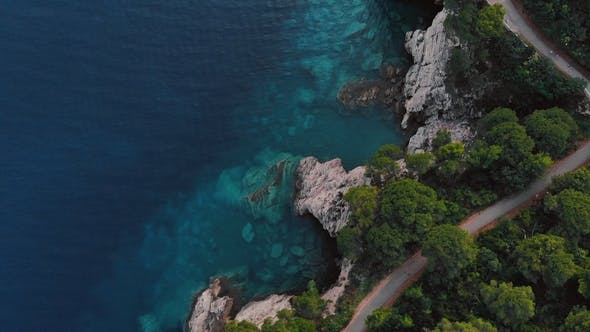 Thumbnail for Aerial View of Rocky Shore of Adriatic Sea