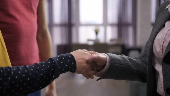 Thumbnail for Midsection of Couple's Handshake with Estate Agent