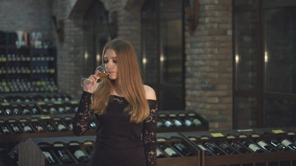 Thumbnail for Beautiful Girl is Drinking Wine