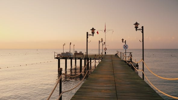 Thumbnail for Walk on the Pier To the Sea,  Earlier Morning at Sunrise