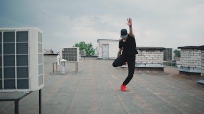 Dancer Guy Dancing Break Dance on the Roof