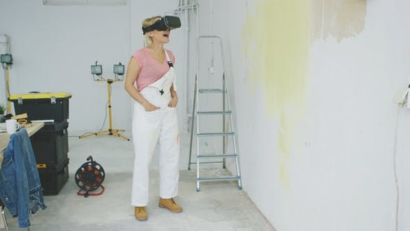 Thumbnail for Excited Female Painter in Virtual Reality Goggles