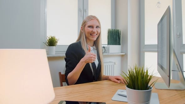 Thumbnail for Smiling Business Woman Showing Thumbs Up