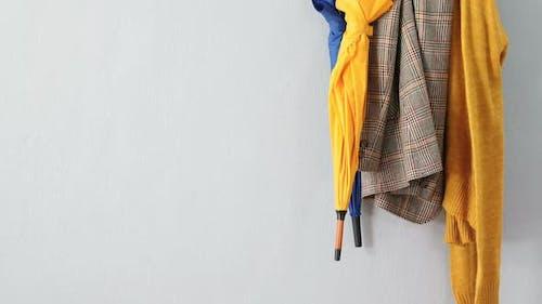 Umbrella, blazer, jumper hanging on hook 4k