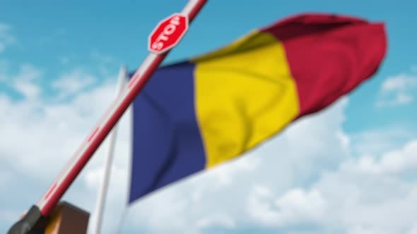 Thumbnail for Closed Boom Gate on the Romanian Flag Background