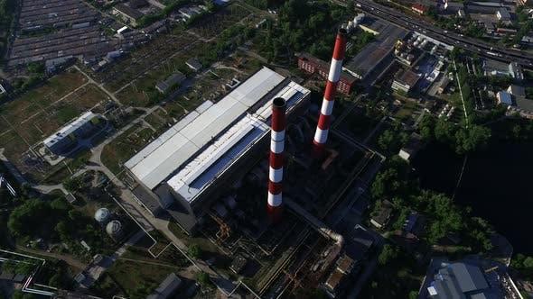 Thumbnail for Antennenansicht Thermalkraftwerksbereich. Elektrokraftwerk Industrielle Rohrleitung