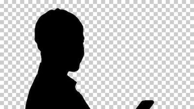Silhouette  woman writes , Alpha Channel