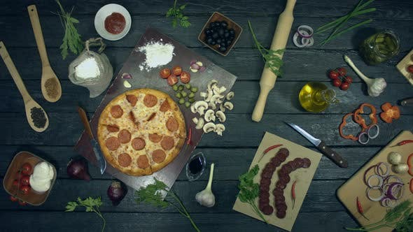 Thumbnail for Pepperoni Pizza on Ecological Black Background