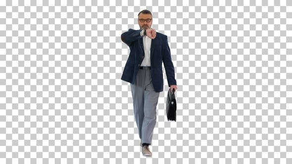 Mature businessman walking in a hurry, Alpha Channel