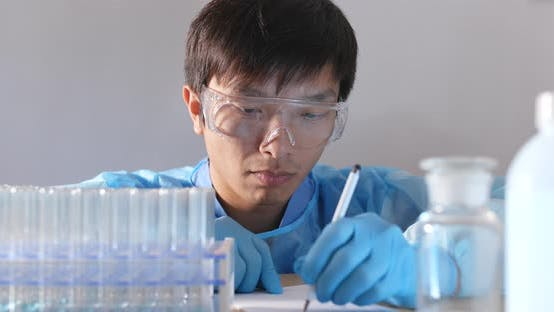 Thumbnail for Chemical research scientist working in the lab