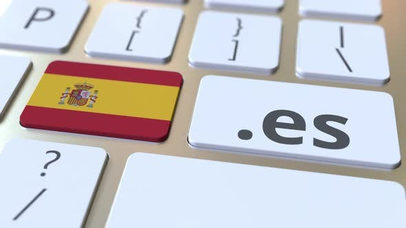 Spanish Domain .Es and Flag of Spain on the Buttons