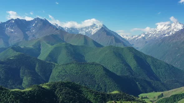 Aerial View on Caucasus Mountains