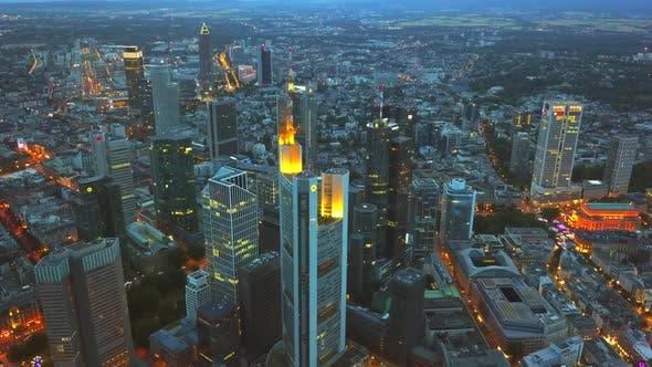 Frankfurt am Main, Germany Skyline Aerial at Night