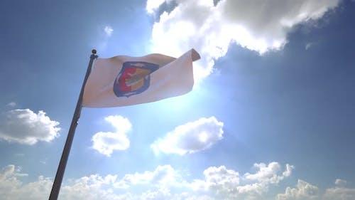Baja California Sur Flag on a Flagpole V4