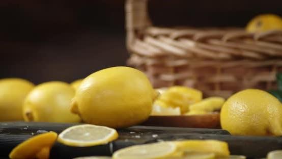 Lemon Falls on a Cutting Board.