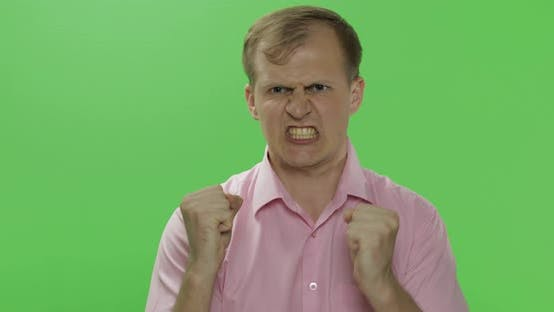Thumbnail for Angry Aggressive Young Man in Shirt Nervous Emotions. Chroma Key