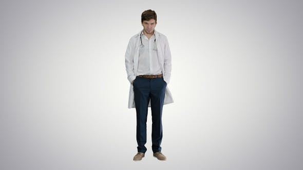 Thumbnail for Sad young man doctor shaking had on gradient background.