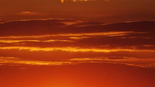 Red Orange SUNSET SKY, Orange  Sunrise with Cloud, Orange Cloudscape Time Lapse Background.