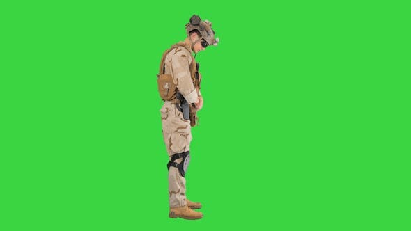Thumbnail for Soldier Standing Waiting Doing Nothing Green Screen Chroma Key