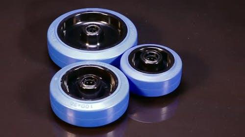 Gummiräder Rotation Blau Drei Räder