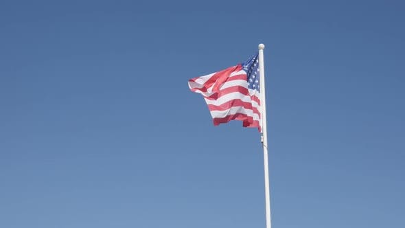 Thumbnail for Slow Motion United States Of America Symbol On Flag Pole Floating On Wind