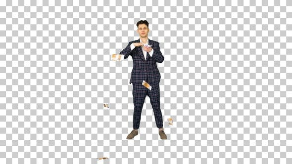 Thumbnail for Young happy businessman dancing and throwing money, Alpha Channel
