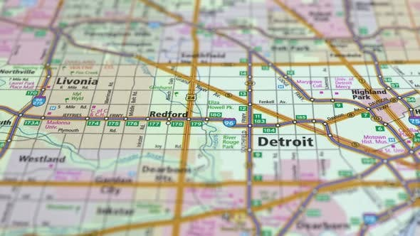 Thumbnail for Map Highways With Cities Detroit City In The North Of The USA.