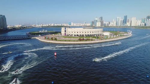 Aerial view of jet ski training for race in Khalid lake in Sharjah.