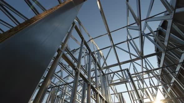 Modern Newly Developed Skeleton Steel Frame Structure. Camera Movement