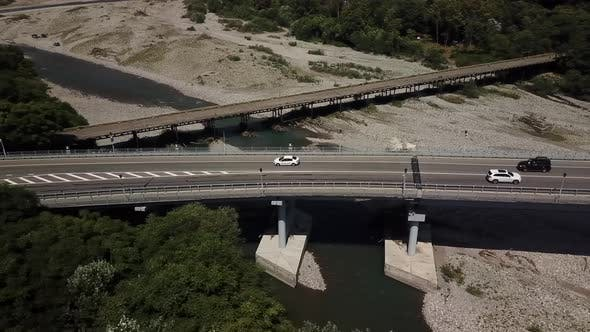 Thumbnail for Aerial View of Traffic on Bridge, 2 Lane Road with Cars
