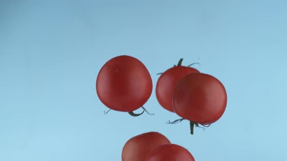 Thumbnail for Tomatoes flying in slow motion, shot with Phantom Flex 4K at 1000 frames per second