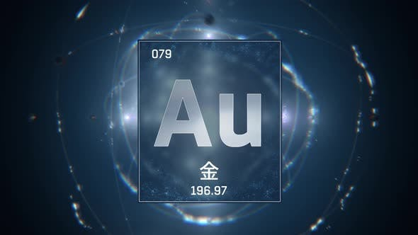 Thumbnail for Gold as Element 79 of the Periodic Table on Blue Background in Chinese Language