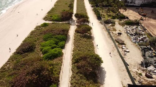 Aerial Drone Footage Of The Atlantic Way Which Is A Bike And Pedestrian Path Along The Beach Dunes