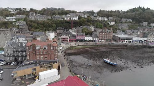 Aerial of Oban Bay and Town in Scotland