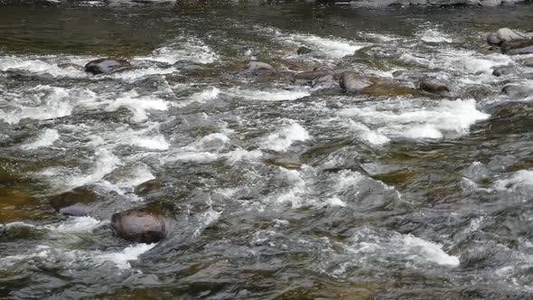 Thumbnail for Wide View Showing Fast Water Rushing Down Shallow Rapids