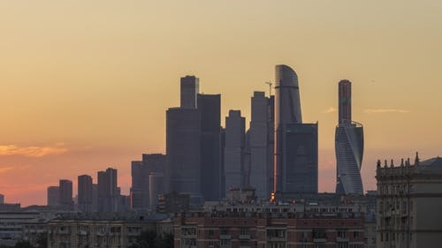 Moscow City Business Center Skyscrapers at Colorful Sunset in Summer. Russia
