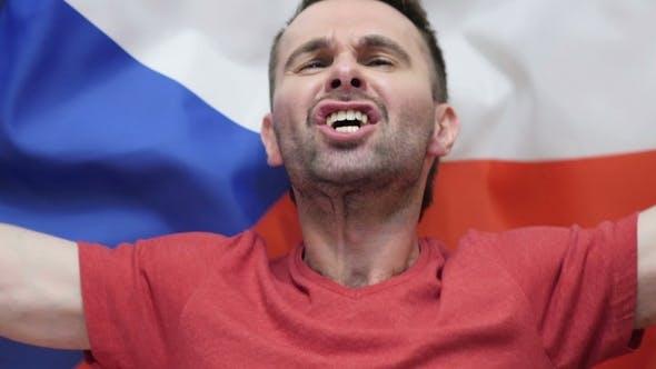 Thumbnail for Czech Fan Celebrates Holding the Flag of Czech Republic