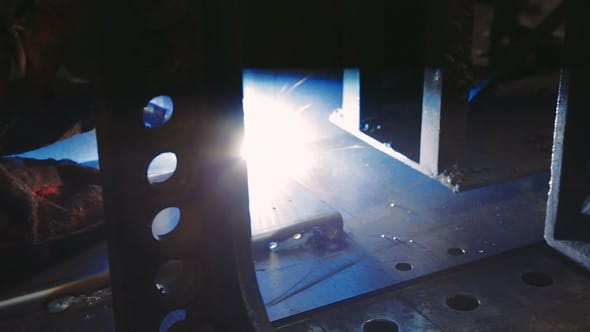 Thumbnail for Welder at Work in Metal Industry Weld on an Industrial Plant
