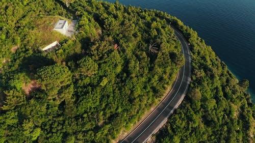 Flight Over Mountain Serpentine, Drone Shot
