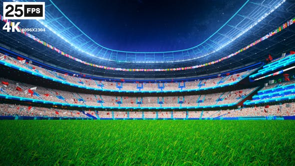 Thumbnail for White Flying On Grass In Stadium Night 4K