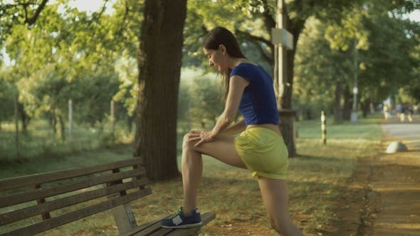 Thumbnail for Fitness Woman Runner Stretching Legs Before Run